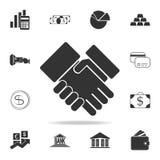 Icône de poignée de main Ensemble détaillé d'icônes d'élément de finances, d'opérations bancaires et de bénéfice Conception graph illustration libre de droits