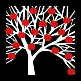 Icône de pomme d'arbre sur le fond noir Images libres de droits