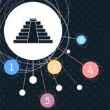 Icône de pyramide avec le fond au point et avec le style infographic Photos stock