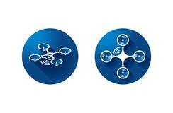 Icône de quadrocopter de Dron sur le fond bleu vecteur de symbole images stock
