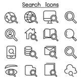 Icône de recherche réglée dans la ligne style mince Photo stock