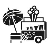 Icône de remorque de maïs éclaté, style simple illustration libre de droits