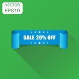 Icône de ruban de la vente 20% Vente de concept d'affaires autocollant de 20 pour cent illustration stock