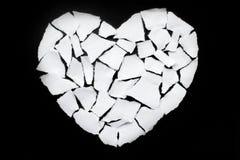 Icône de séparation et de divorce de concept de dissolution du coeur brisé blanc Images libres de droits