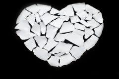 Icône de séparation et de divorce de concept de dissolution du coeur brisé blanc Photographie stock