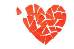 Icône de séparation et de divorce de concept de dissolution du coeur brisé Cr rouge Image libre de droits