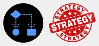 Icône de schéma fonctionnel de vecteur et filigrane rayé de stratégie illustration libre de droits