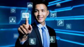 Icône de seo de contact d'homme d'affaires Image libre de droits