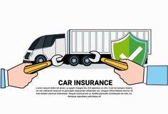 Icône de service d'assurance auto de camion avec la réparation Lorry Under Shield Icon de main Image libre de droits