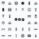 icône de signe d'indicateur d'arrêt Ensemble universel d'icônes ferroviaires d'avertissements pour le Web et le mobile illustration libre de droits