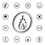 icône de signe du feu 3D Ensemble détaillé d'icônes de panneaux d'avertissement Signe de la meilleure qualité de conception graph Illustration Stock