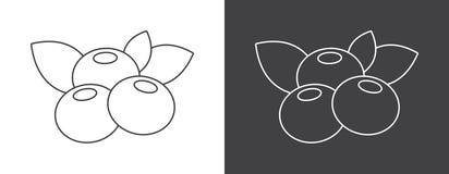 Icône de signe de myrtille sur le fond blanc et noir illustration libre de droits