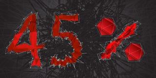 icône de signe de vente de 45% Symbole de remise Vente de Black Friday, saison d Photographie stock libre de droits