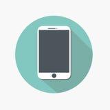 Icône de Smartphone dans l'appartement à la mode sur le fond gris Image stock