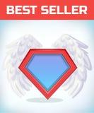 Icône de super héros - logo de super héros Bouclier de superhéros avec des ailes d'ange costume de mascarade Carnaval ou bande de Images libres de droits
