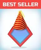 Icône de super héros - logo de super héros Bouclier de superhéros avec le chapeau d'anniversaire Coiffe de costume de mascarade C Photos stock