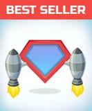 Icône de super héros - logo de super héros Bouclier de superhéros avec le lancement de fusée Améliorant la vieille technologie en Photos stock