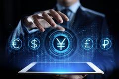 Icône de symbole monétaire de Yens sur l'écran virtuel Concept marchand de technologie d'affaires de forex illustration libre de droits