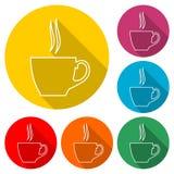 Icône de tasse de café, icône de couleur avec la longue ombre Photo libre de droits