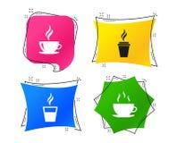 Icône de tasse de café Symboles chauds en verre de boissons Vecteur illustration stock