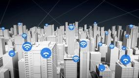 Icône de technologie du sans fil sur la ville futée, réseau Internet se reliant