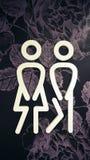 Icône de toilettes Le style est symbole plat, couleur blanche, angles arrondis, fond de fleur illustration de vecteur