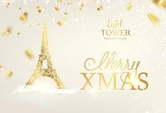 Icône de Tour Eiffel avec des chutes d'or de confettis d'isolement au-dessus de joyeux Noël blanc de fond et de signe images libres de droits