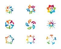 Icône de vecteur de calibre de logo de soins de santé communautaires Photos stock