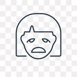 Icône de vecteur d'émotion d'isolement sur le fond transparent, E linéaire illustration stock