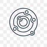 Icône de vecteur d'atomes d'isolement sur le fond transparent, l'ATO linéaire illustration libre de droits