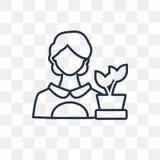 Icône de vecteur de fleuriste d'isolement sur le fond transparent, F linéaire illustration stock