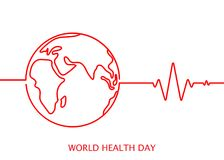 Icône de vecteur de jour de santé du monde avec le cardiogramme dans la couleur rouge sur le fond blanc illustration stock