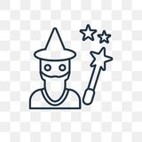 Icône de vecteur de magicien d'isolement sur le fond transparent, WI linéaires illustration stock