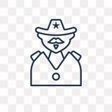 Icône de vecteur de shérif d'isolement sur le fond transparent, S linéaire illustration libre de droits
