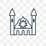Icône de vecteur de synagogue sur le fond transparent, linéaire illustration stock
