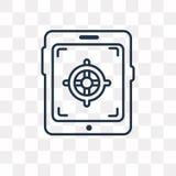 Icône de vecteur de Tablette d'isolement sur le fond transparent, ventres linéaires illustration libre de droits