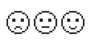 Icône de visage d'emoji de sourire de pixel Vecteur eps10 d'ensemble de visage d'émotion de pixel illustration stock