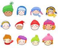 Icône de visage d'enfants de bande dessinée Images libres de droits