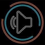 Icône de volume de haut-parleur - symbole sain de voix audio, musique de médias illustration stock