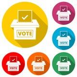 Icône de vote de concept, illustration plate de style du jour d'élection, icône de couleur avec la longue ombre Illustration Libre de Droits
