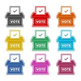 Icône de vote de concept, illustration plate de style de jour d'élection, icônes de couleur réglées Image libre de droits