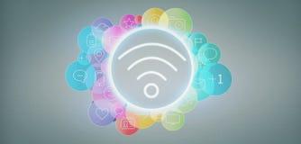 Icône de Wifi entourant par renderin social de l'icône 3d de media de colorfull illustration libre de droits