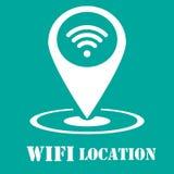 Icône de Wifi - type abstrait icône de logo - icône blanche dans la goupille de carte Photos libres de droits