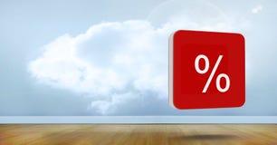 icône des pour cent 3D dans la chambre avec le ciel Photo stock