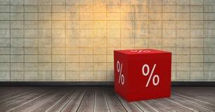 icône des pour cent 3D sur le plancher dans la chambre Photographie stock