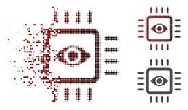 Icône dispersée de Dot Halftone Bionic Vision Chip illustration libre de droits
