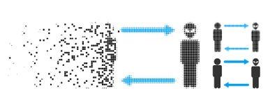 Icône dispersée de Dot Halftone Man Exchange Alien illustration de vecteur