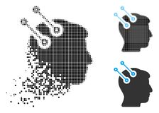 Icône dispersée de Dot Halftone Neural Interface Connectors illustration de vecteur