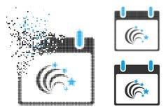 Icône dispersée de jour de Dot Halftone Festive Fireworks Calendar illustration libre de droits