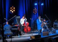 Icône du jazz du monde - ponceuses de Pharoah l'icône Quartetet vivant sur l'étape de Kijow Centre à l'été Jazz Festival à Cracov Image stock
